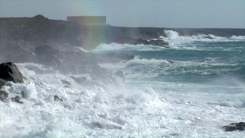 extreme wave crushing vulcan coast Stock Video Footage