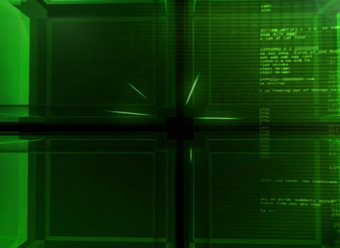3D digital green Cube Background Stock Video Footage