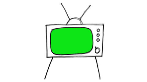 Green Screen Cartoon TV Zoom Stock Video Footage