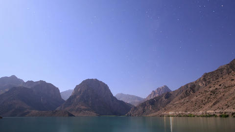 Night on the lake. Tajikistan, Iskander-Kul. TimeL Footage