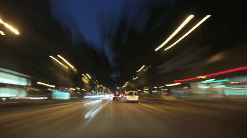 Driving Cameracar Barcelona Street Rage at Night Footage