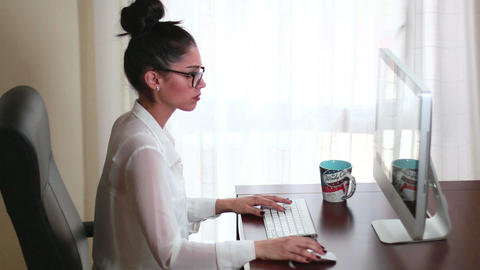 Businesswoman Office Working iMac Computer Live Action