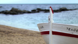 Retro Fishing Boat On The Sand Rack Focus stock footage