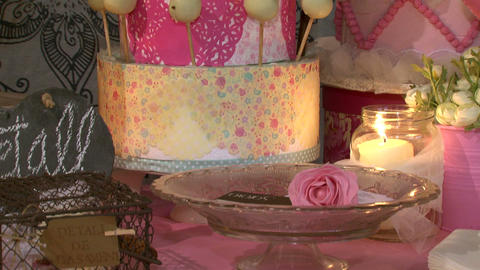 Celebration Party Biscuits Flowers And Candles stock footage