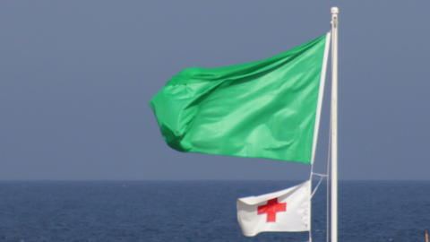 Green Warning Flag Waving next to the Sea Footage