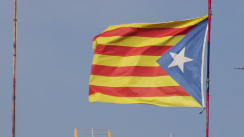 Pro Independent Catalonia Flag Waving Live Action