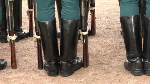 Formation of soldiers. Boots, rifle butts Footage