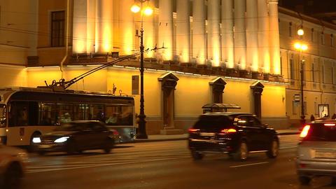 Admiralty Building in St Petersburg. Night Footage