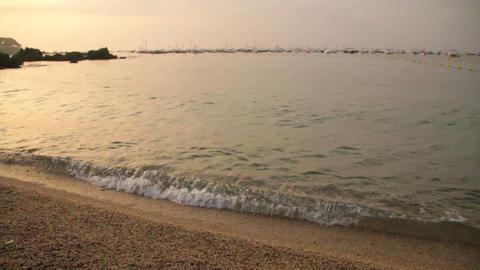 Mediterranean Golden Beach At Dawn Sunrise stock footage