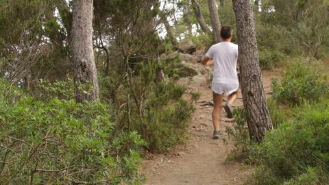 Runner Running Across the Fields Footage