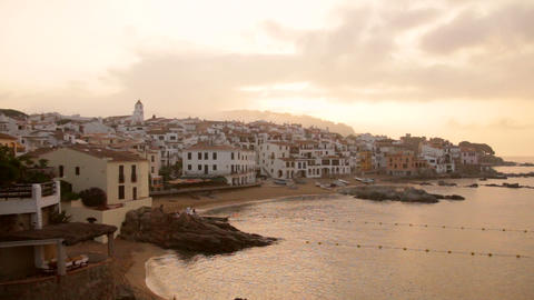 Mediterranean Fishing Village At Dawn 01 stock footage