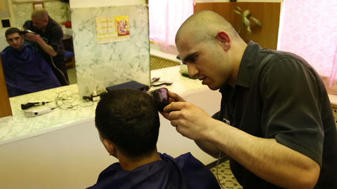 Barber In Prison. Haircut Convicted stock footage