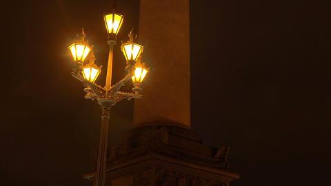 Alexander column on Palace square. Night Footage