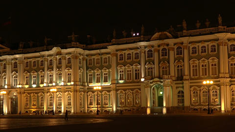 The State Hermitage museum in St. Petersburg. Nigh Footage