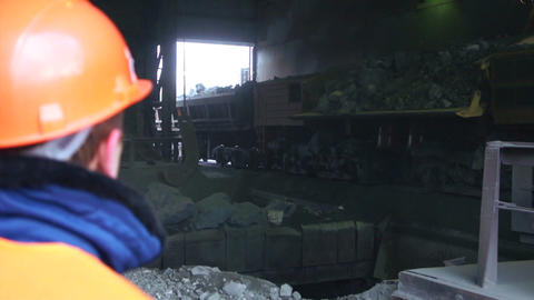 Railway Car pours stones. Unloading of trains Footage