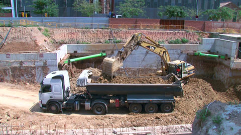 Work Bulldozer Filling Dump Truck Time Lapse Live Action
