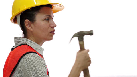 Female Construction Worker Mad Hammer Footage