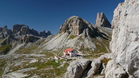 4k UHD pan valley to mountain refuge Locatelli 115 Footage