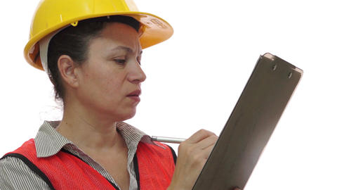 Minority Construction Worker Clipboard Marking Footage