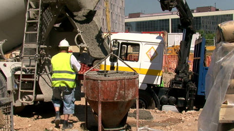 Work Pouring Concrete stock footage