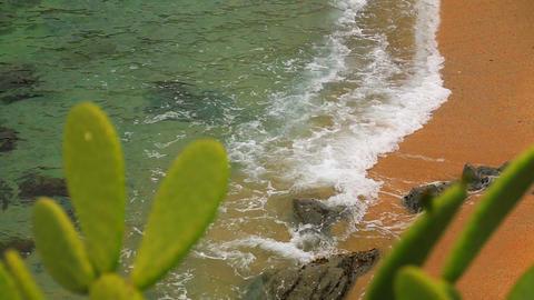 Turquoise Mediterranean Beach Rack Focus 01 Footage