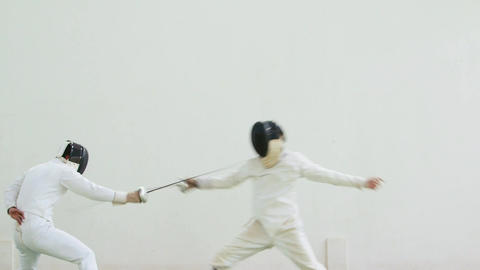 Athletes Fighting In Fencing Duel 이미지