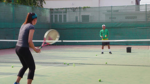 Young People Playing Tennis Footage