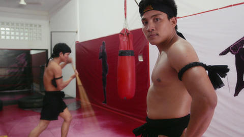 Athletes Training For Martial Arts In Fitness Gym Footage