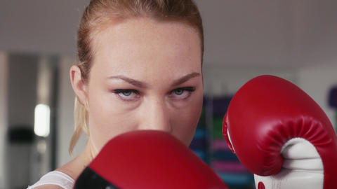 Portrait Of Beautiful Girl In Boxing Gym For Sport Footage
