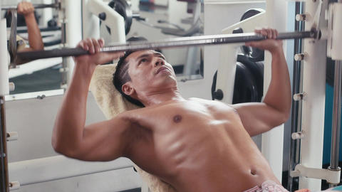 Asian Athlete Working Out For Bodybuilding And Doing sport Footage