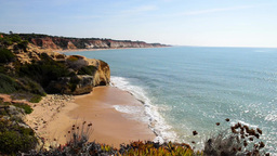 Olhos De Agua Beach In Albufeira, Portugal stock footage