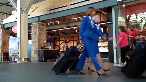 Slow Motion Of Passanger Inside YVR Airport stock footage