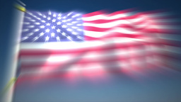 Waving United States Flag With Sudden Increasing stock footage