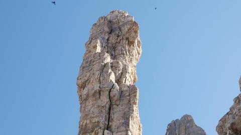 tilt huge monolith with circling ravens 11509 Footage