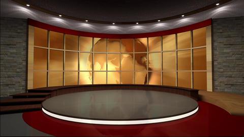 News TV Studio Set 39 Virtual Green Screen Backgro stock footage