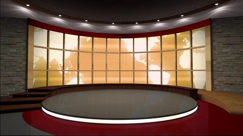 News TV Studio Set 37 Virtual Green Screen Backgro stock footage
