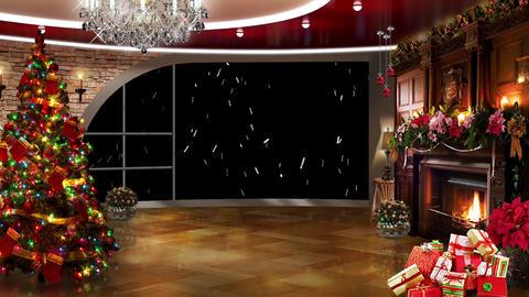 Christmas TV Studio Set 03 Virtual Green Screen Ba stock footage