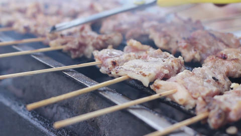 thai food, grilled pork and sausage barbecue side on street at thailand Footage