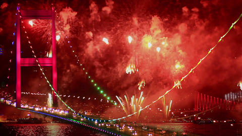 Bosphorus, Istanbul New Year Eve Footage