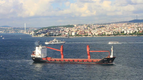 Cargo ship on route to Marmara Sea Live Action