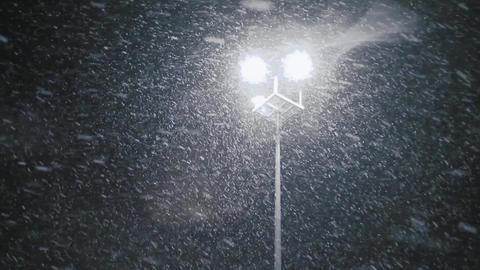 Snow falling in streetlight beams at night. Loop Footage