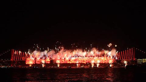 Firefall show on Bosporus Bridge Footage