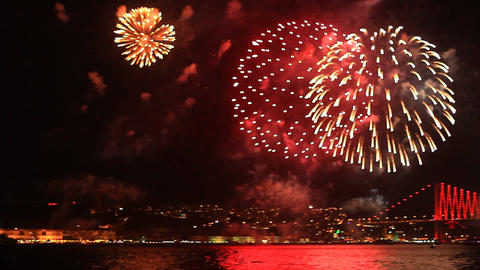 Light And Fireworks Show stock footage