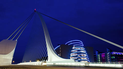 Samuel Beckett bridge night time lapse, Dublin Ire Footage
