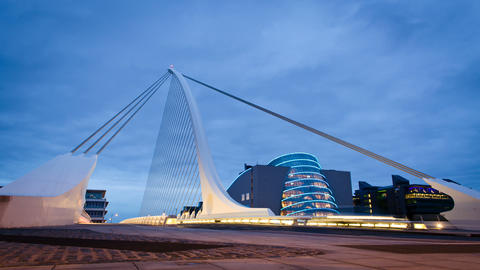 Samuel Beckett bridge night time lapse, Dublin Ire Footage