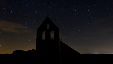 4K Night Sky Stars and Church Timelapse Footage