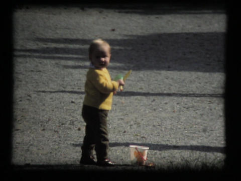 Toddler Girl In Park, Playing Walking stock footage