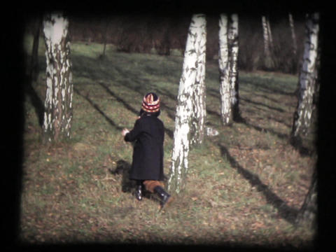 Little Girl Running, Birch Wood, Slow Motion stock footage