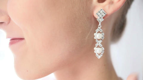 bride earring with pearls Footage