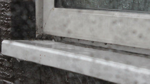 Rain tapping on the window sill 3 Footage
